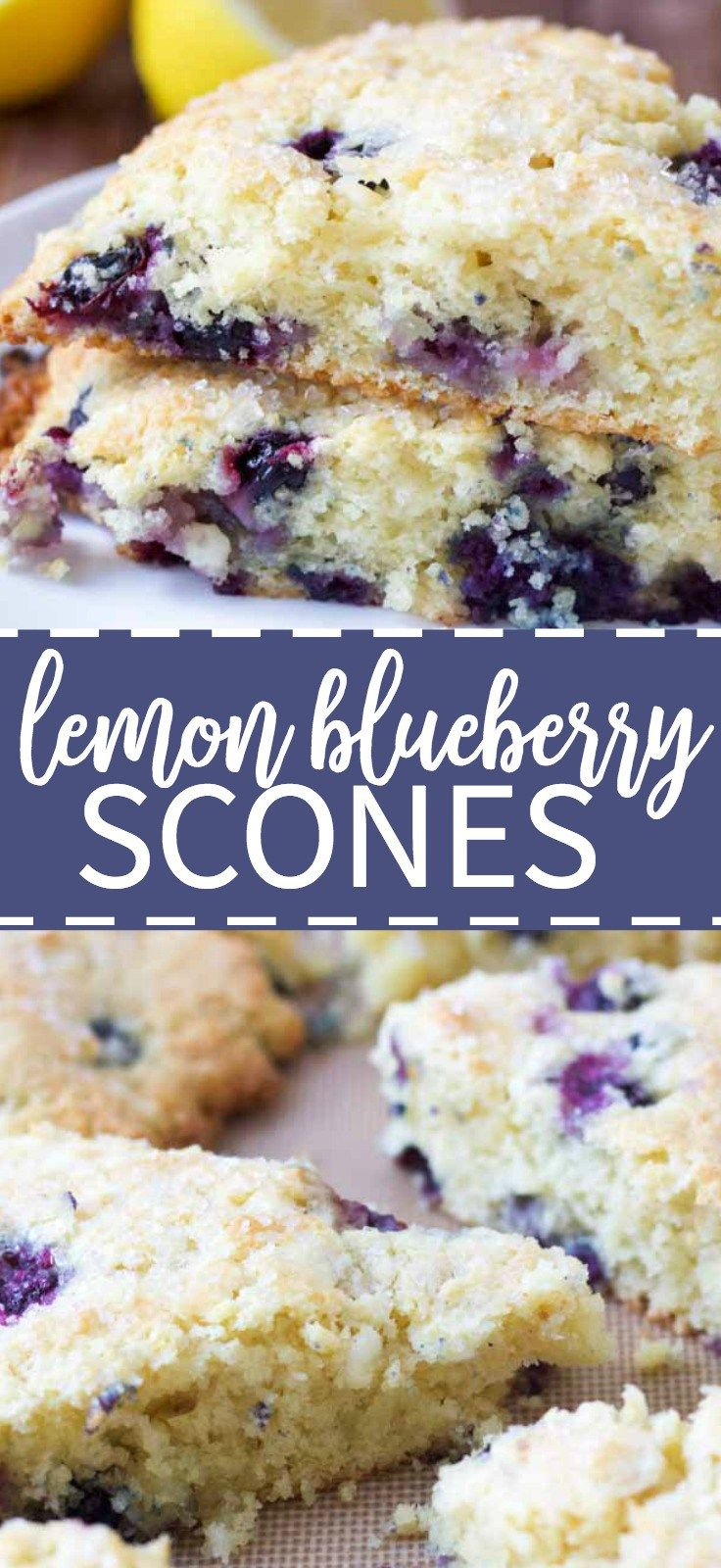 Lemon blueberry scones filled with white chocolate chips and a hearty sprinkling of sugar and bursting with lemon zest and juicy blueberries.