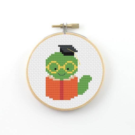 Bookworm cross stitch pattern, pdf pattern, book cross stitch, geek cross stitch, school cross stitch, gift for bookworm, cute cross stitch
