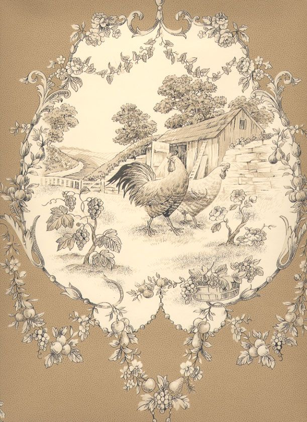 love these chickens a bit of French Toile, este tipo de estampado pero con caballos