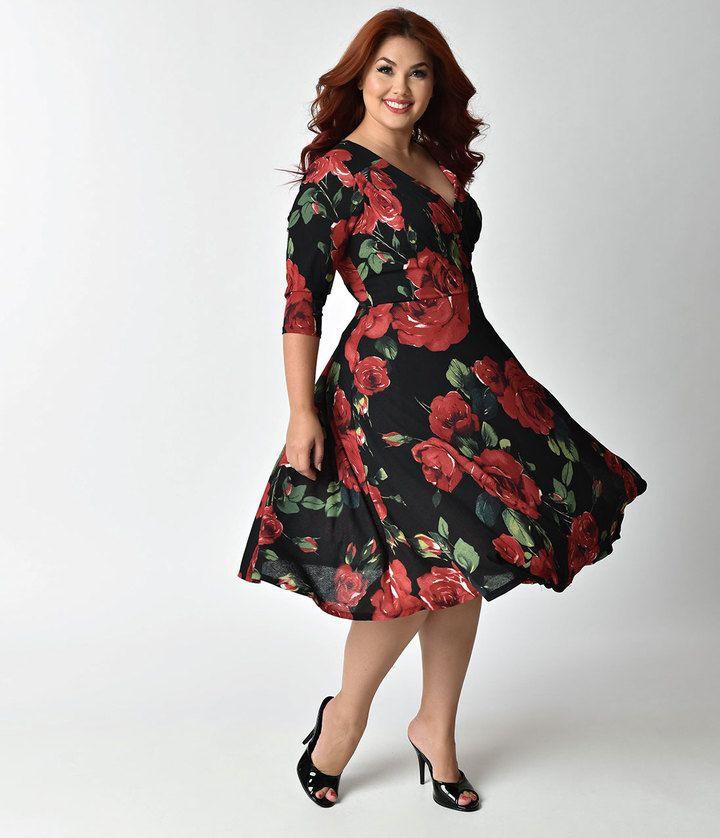 2e3a116863 Unique Vintage Plus Size 1940s Style Black & Red Roses Print Kelsie Wrap  Dress
