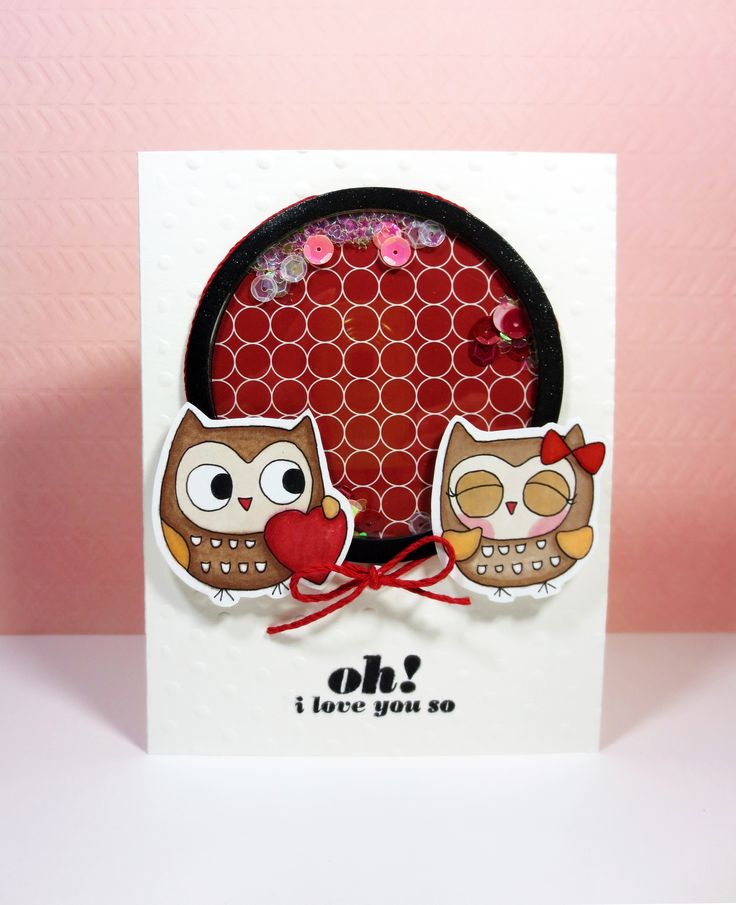 Shaker card with cute owl couple
