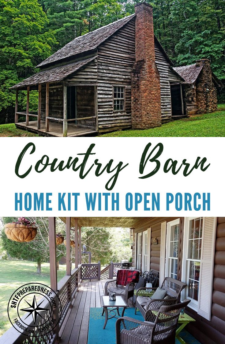 "Country Barn Home Kit With Open Porch - I found this barn home kit that looks amazing. If you are in the market for a bigger home but don't have hundreds of thousands of dollars to buy or build a ""regular"" home then these kits are for you."