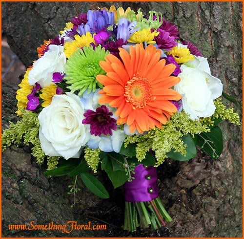 Round, hand-tied, fresh floral bridal bouquet by Something Spectacular/Something Floral, Warren, MI, featuring white roses, orange gerbera daisies, blue hydrangea, periwinkle agapanthus, yellow, green, and violet chrysanthemums, and yellow-green solidago, finished with a purple satin ribbon stem wrap and green pearls. #wedding #flowers #bouquet