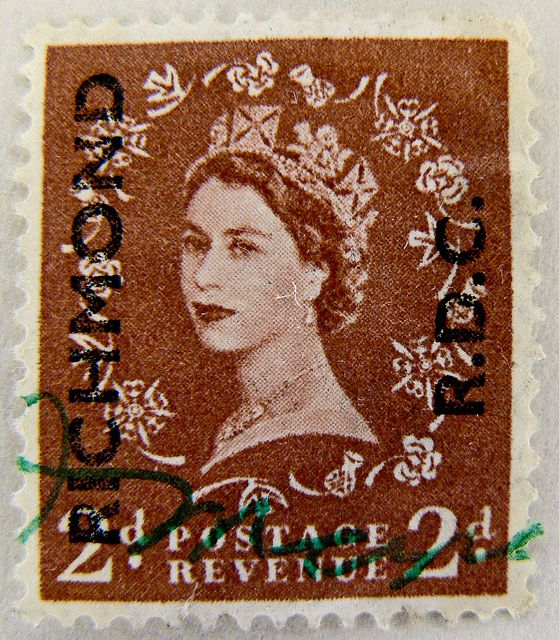 """beautiful old english stamp Wilding GB 2d UK R.D.C. Briefmarke timbre Elizabeth """"green canceled"""" Great Britain stamps GB England Commonwealt..."""