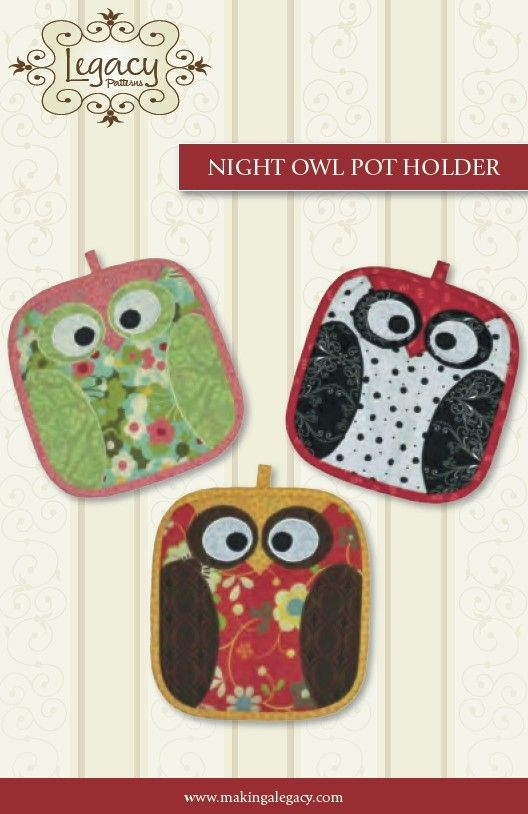 Night Owl Pot Holder Kitchen Sewing Pattern From Fabricandetc On Etsy Http