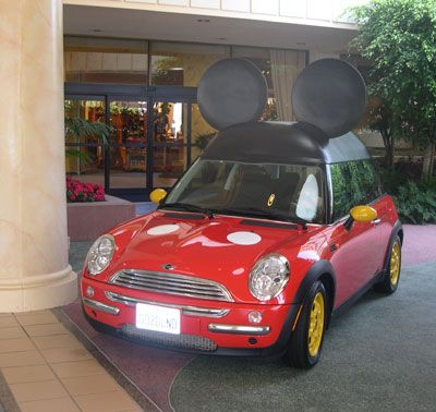 A Mickey Car! This photo was taken outside of the Disneyland Hotel in Anaheim, CA.