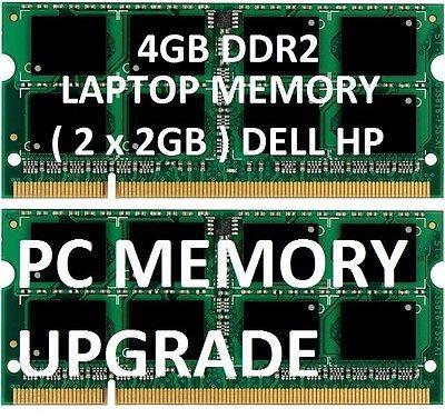 4gb = 2gb x 2 LAPTOP MEMORY RAM DDR2 sodimm notebook PC Dell & HP DV6000 DV9000