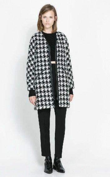 Women Fashion Big houndstooth Trench Coat-$33.90 FREE SHIPPING