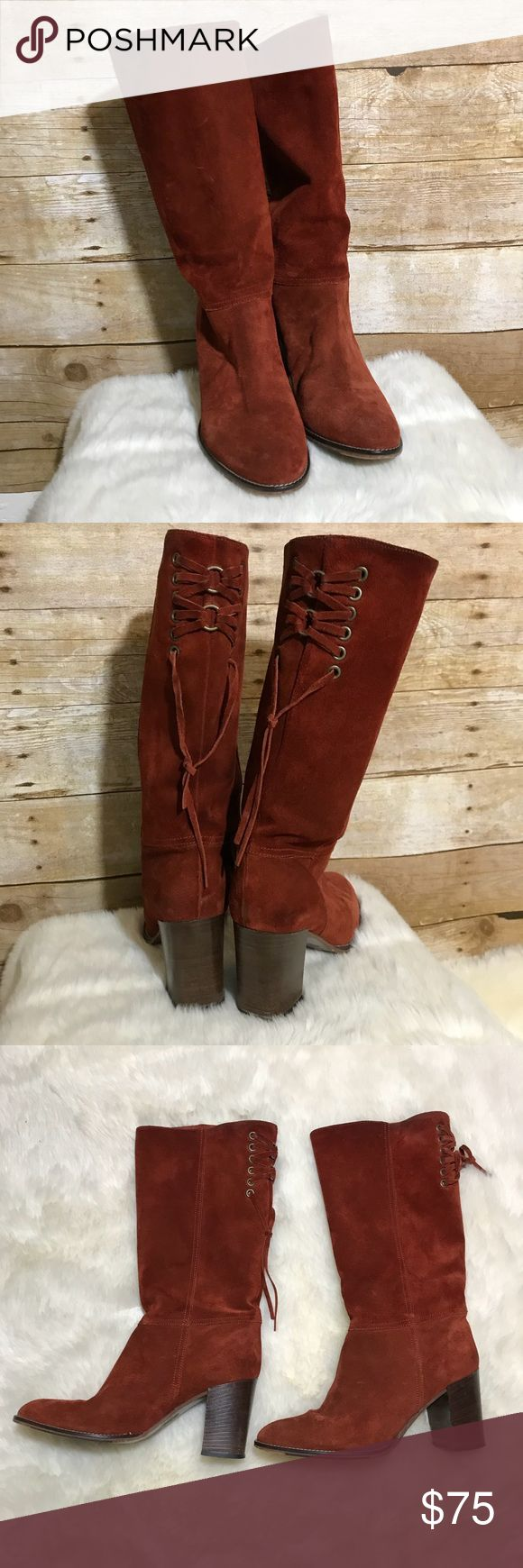 Cody Coach Boots Preloved Suede Coach Boots. Normal signs of wear. Beautiful burnt orange/brick color. Super cute with the Cabi Fiesta Poncho in my closet! Coach Shoes Heeled Boots