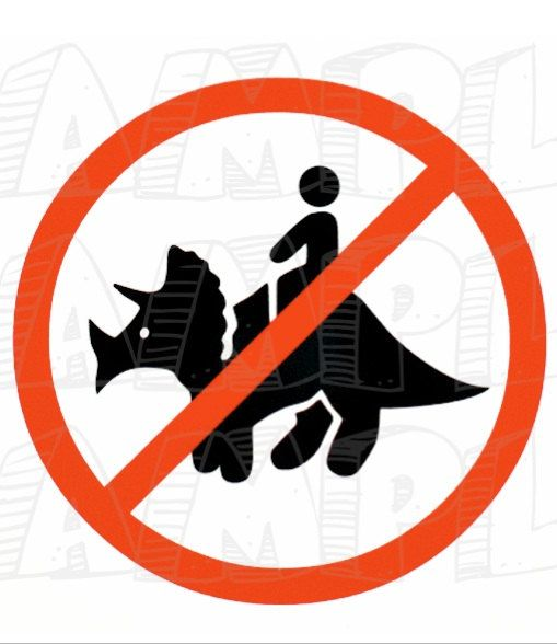 PDF: Do Not Ride The Triceratops Sign - Themed Dinosaur Crossing Sign Party Warning Caution Zone Paleo Caveman silhouette