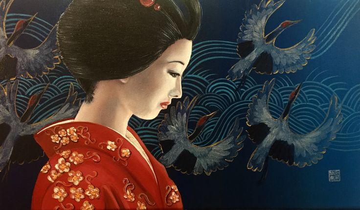 Just finished my painting called 'inside' Oil on linen 50x30 cm  #art #kunst #painting #schilderij #ingoleth #galeriebijleth #emmen #emmenmaakhetmee #geisha #maiko #geiko #blue #kraanvogel #crane #japan