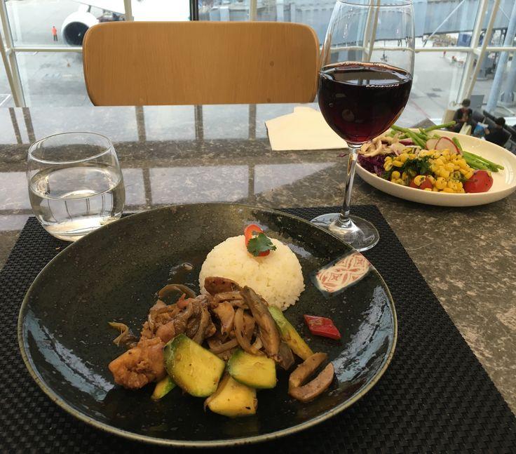 Chicken and zucchini stir fry in black bean sauce, Qantas Lounge, Hong Kong
