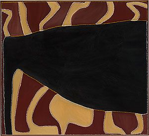 Rover Thomas [Joolama], 'Cyclone Tracy', 1991, natural earth pigments on canvas, National Gallery of Australia, Canberra, purchased 1991  © the artist's estate, courtesy Warmun Art Centre