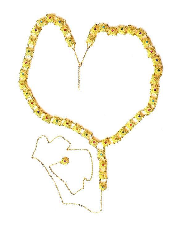 Adjustable MEDIEVAL Gold-Tone Filigree Flower Medallion Tudor BELT SCA Re-enactment