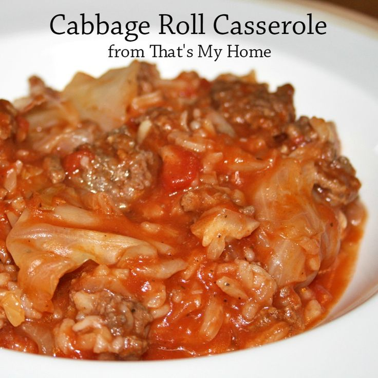 Cabbage Rolls Casserole Beef, rice and cabbage in a tomato sauce tastes just like cabbage rolls with half the work. - Recipes, Food and Cooking
