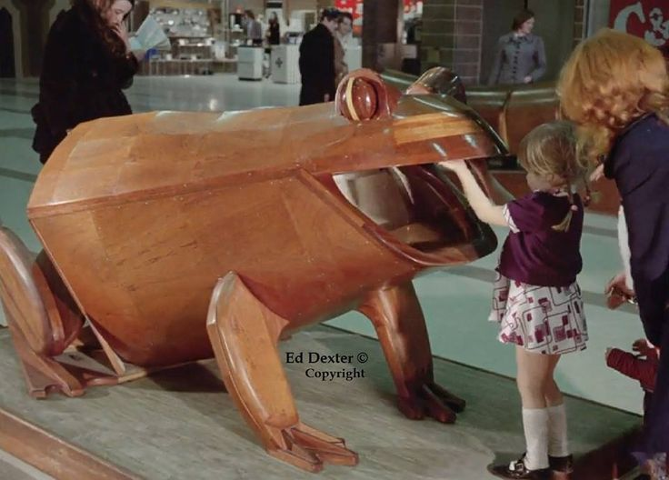 Broadmarsh Centre , Nottingham, 1973 - The Wooden Frog. Photo Credit: Ed Dexter