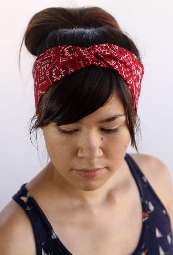 Red Bandana Turban Headband Retro Turband Boho di ThePurpleBees, $12.95