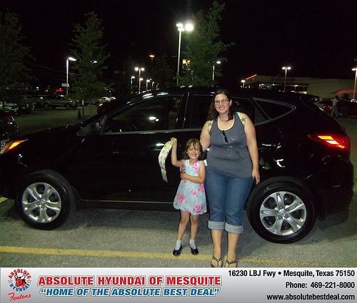 Absolute Hyundai would like to say Congratulations to Naomi Knight on the 2013 Hyundai Tucson