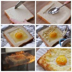 Isn't this clever? Egg on toast for on the go mornings. You just smoosh down the bread in the center and heat it in the oven until cooked!