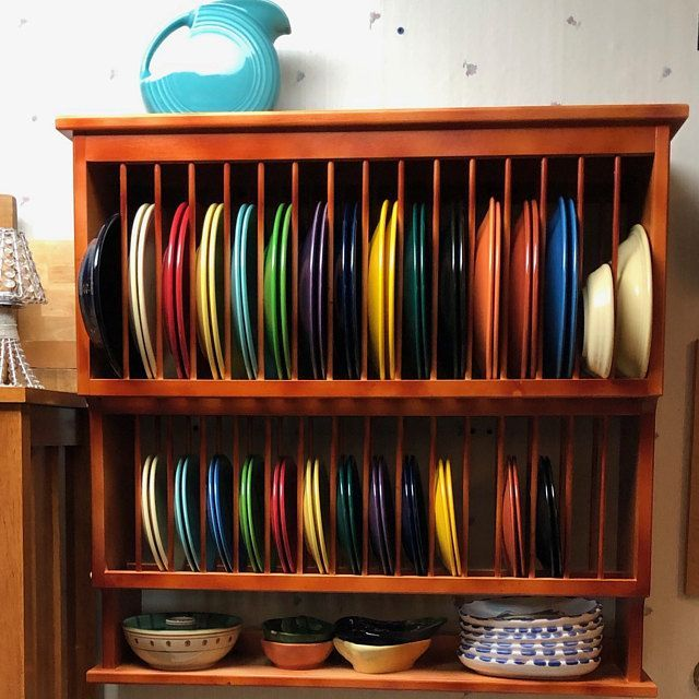 Under Cabinet Wood Plate Dish Rack Cabinet Shelf Kitchen Holds 20 Plates Unfinished Solid 3 4 Pine Wood Dishracks Plate Racks Wood Cabinets Cabinet Plate Rack