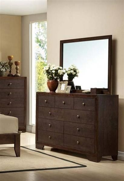 Madison Casual Espresso Wood Glass Dresser And Mirror