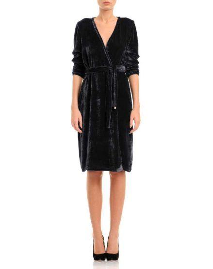 Black silk velvet wrap dress  #Silk #Velvet #WrapDress