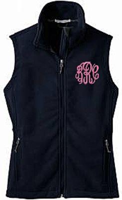 Navy Monogrammed Fleece Vest