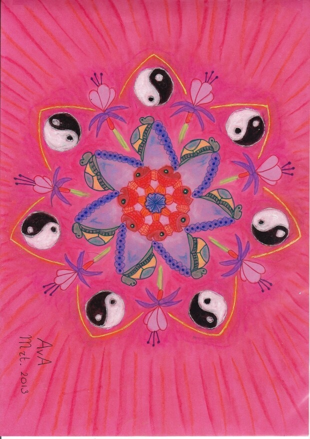 MANDALA: Roze, vis, schildpad, , fuchsia,yinyang