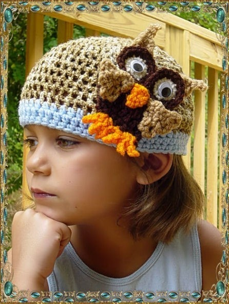 This is a cute take on the owl beanie.
