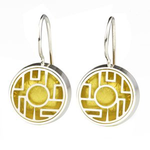 Earrings made from sterling silver and resin by Victoria Varga, represented by Human Arts Gallery in Ojai, CA.