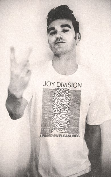 Morrissey wearing a Joy Division shirt. Awesome | Raddest Looks On The Internet http://www.raddestlooks.net