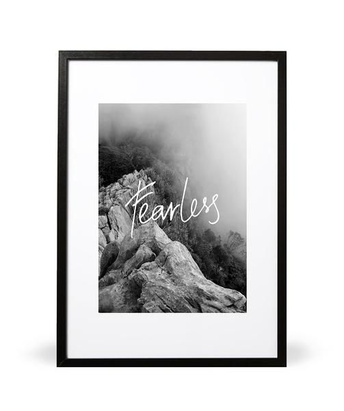 Fearless art print - In collaboration with Suzannah Maree Photography.  This amazing image of the Southern Alps in New Zealand visualizes that idea of stepping out and challenging the status quo. The hand written typography of the word 'Fearless' encapulates this feeling of anticipation and adrenaline.   Part of the In the Wilderness collection.  Available online at intricatecollections.com  Embossed with Intricate Collections logo at bottom right. Original artwork by Intricate Collections.