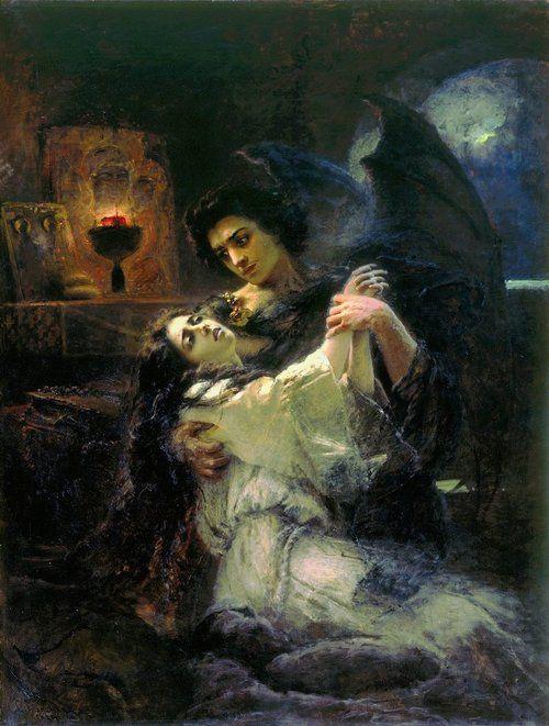 Tamara and Demon - Konstantin Makovsky  1889 ~Based on the poem The Demon, Mikhail Lermontov.