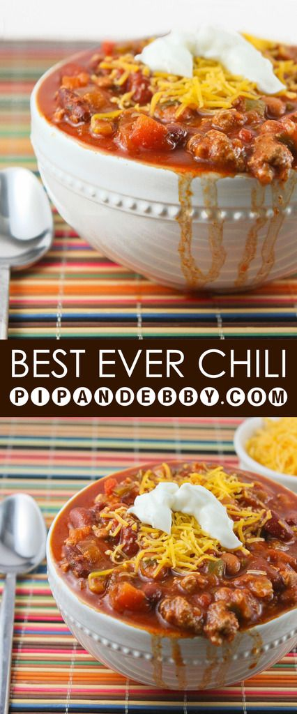 This is the BEST chili recipe ever! You need not look any further for the perfect fall/winter dinner. Great in a crockpot or on the stove!. == YUMMY, DELICIOUS. === KEEPER