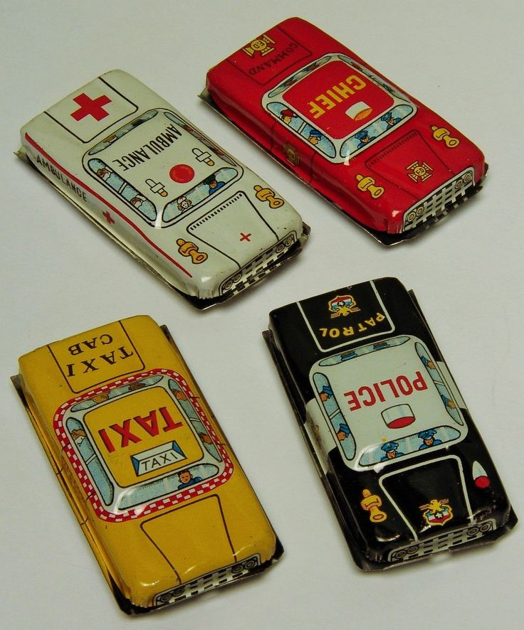 These 2.5 inch long tin cars were made in Japan and are circa the 1950's. The set includes a police car, ambulance, taxi, and fire chiefs' car. Fresh from the factory case at a terrific price.