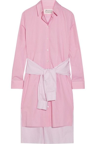 Maison Margiela - Tie-front Striped Cotton-poplin Shirt Dress - Baby pink - IT