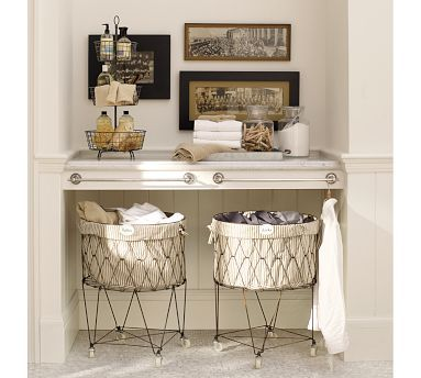 vintage wire hampers courtesy of Pottery Barn