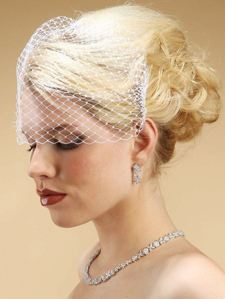 """ThisFrench Netting or Russian Tulle Birdcage veil is abeautiful """"over the eyes"""" vintage visor wedding veil."""