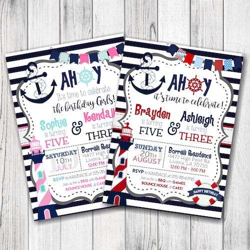 Siblings Nautical Birthday Party Invitation – Little Sailor Birthday Party Invitation – Ahoy Sailor Birthday Invitation – Boy, Girl, Siblings, Twins – Double Sided –