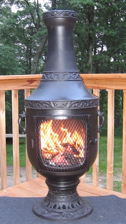 The Venetian Chiminea Features: U2022Solid Cast Aluminum Construction Body  U2022Stainless Steel Mouth Screen
