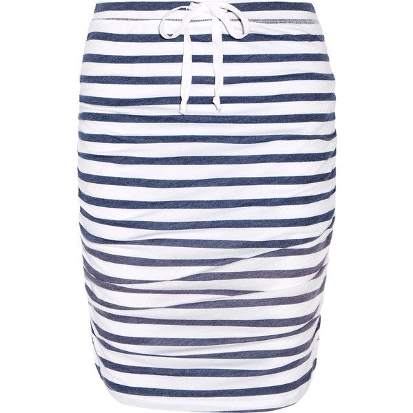 Splendid Striped stretch-jersey skirt ($84) ❤ liked on Polyvore featuring skirts, navy, navy striped skirt, navy skirt, navy blue skirt, pull on skirts and splendid skirt
