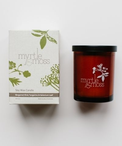 Soy Candle - Bergamot Rind, Tangerine, Geranium Leaf - White Apple Gifts
