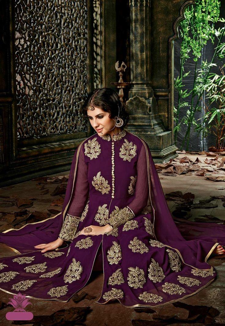 Violet designer wedding wear Indian anarkali dress G15130