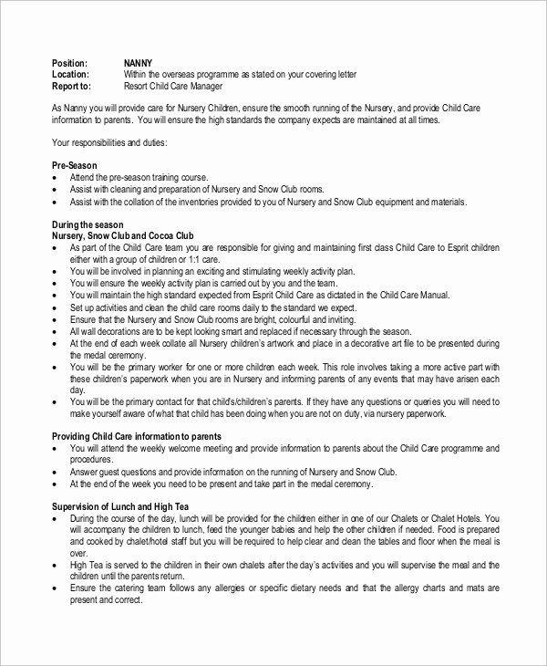 Nanny Job Description Resume Inspirational Sample Nanny Job Description 8 Examples In Word Pdf In 2020 Nanny Job Description Babysitter Jobs Nanny Jobs