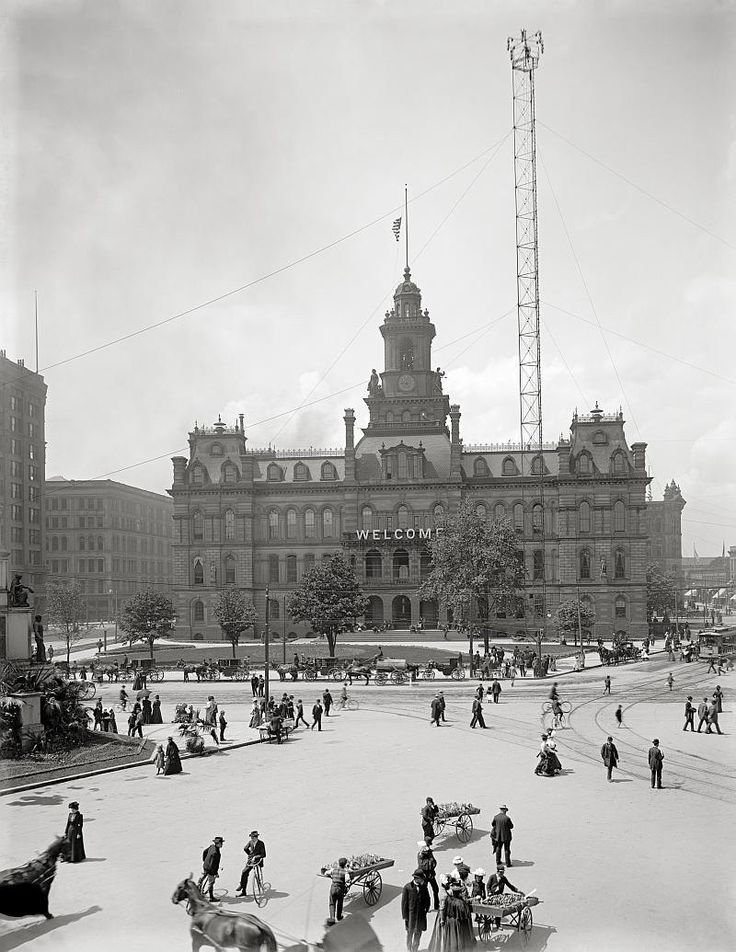 Welcome to Detroit, year 1900.City hall and Campus Martius, Detroit, MI..Vintage Detroit photography.Detroit art print. by Chromatone on Etsy https://www.etsy.com/listing/198273008/welcome-to-detroit-year-1900city-hall