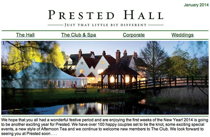 via Prested Hall @Prested Hall This year at Prested we have lots of exciting events, delicious Sunday Lunches, excellent Spa offers and much more for you to enjoy. Find out more in this months newsletter, read it here -----> http://ymlp.com/zEpwV4 www.prested.co.uk https://www.facebook.com/prested.hall http://www.pinterest.com/prestedhall/