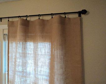 84 burlap curtain two pleated panels pinch pleat by pillowpuff