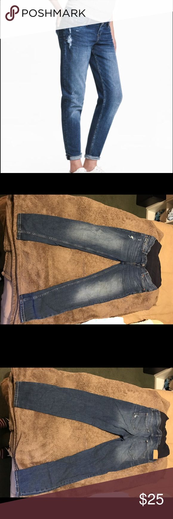 H&M maternity boyfriend jeans Wore these maternity jeans literally twice because I was mostly comfortable with leggings and shorts my whole pregnancy so they are in great condition and holds belly up so well. H&M Jeans Boyfriend