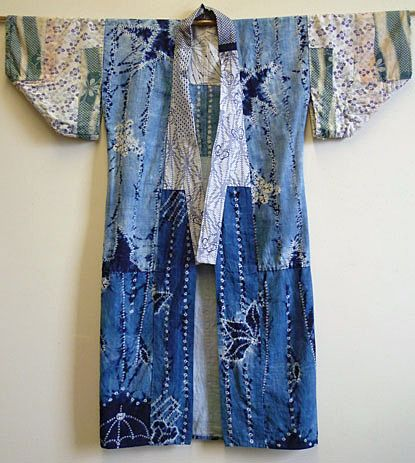 The bodice of this juban is of hand spun, hand woven cotton that has been shibori dyed in botanical indigo. Very often juban were made of a mixture of cloth and the sleeves and collars were repeatedly taken off and replaced due to wear.