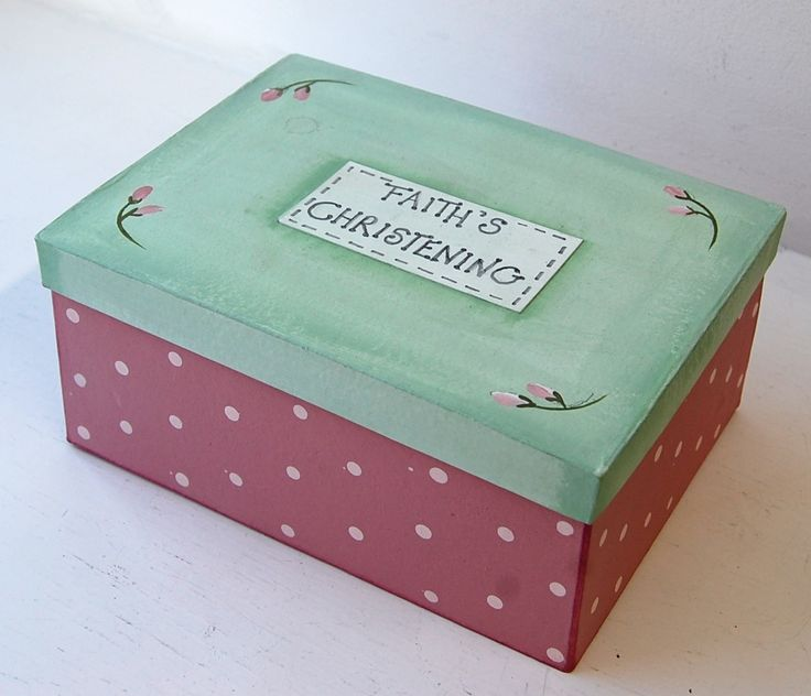 Our papier mache box has been painted with acrylics and a personalised, hand written name plaque (basically card) was glued in the centre.  A simple DIY decorating project.